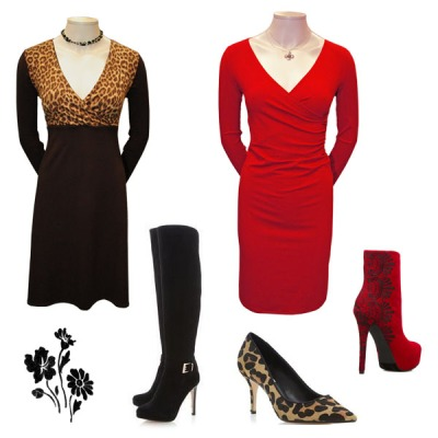 Sko til sort leopard kjole